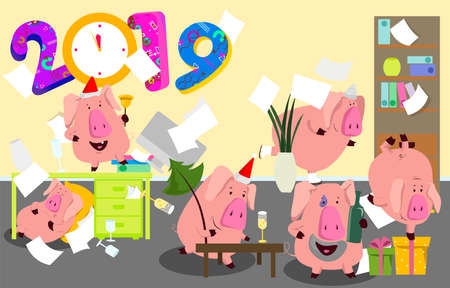 New Year bash. People celebrating party vector illustration. Cool vector flat character design on New Year or Birthday party
