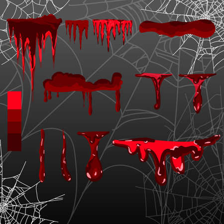 collection various blood or paint splatters,Halloween concept,ink splatter background Illustration