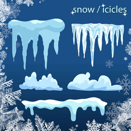 Set of snow icicles isolated on transparent background. Vector illustration. icy Christmas background. snow and icicles, snow caps on a transparent background
