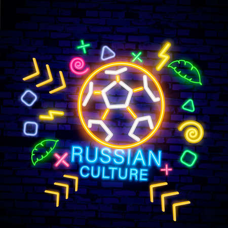 Travel to Russia. Welcome to Russia. design template, neon style logo, bright night signboard, light banner. Vector Illustration