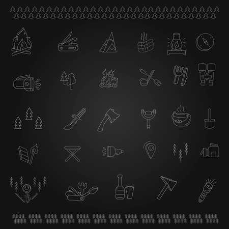 Conjunto de iconos de contorno de elementos de camping. colección de símbolos de estilo lineal, paquete de señales de línea. gráficos vectoriales.