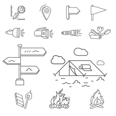 Camping elements outline icons set. linear style symbols collection, line signs pack. vector graphics.  イラスト・ベクター素材