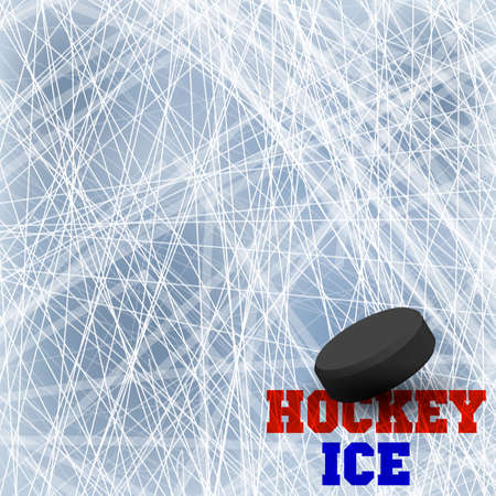Vector of ice background with marks from skating and hockey. Winter background. Overhead view. Illustration