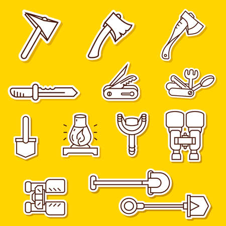 Camping elements outline icons set. linear style symbols collection, line signs pack. vector graphics.