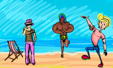 Young people stay on the beach, cartoon style vector illustration.