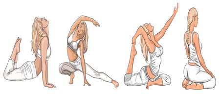 Chica dibujada a mano en posición de yoga. Ilustración de vector de hermosa mujer de dibujos animados en varias poses de yoga.
