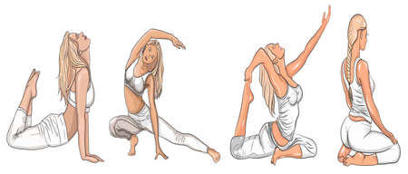 Hand drawn Girl in yoga position. Vector illustration of beautiful cartoon woman in various poses of yoga.