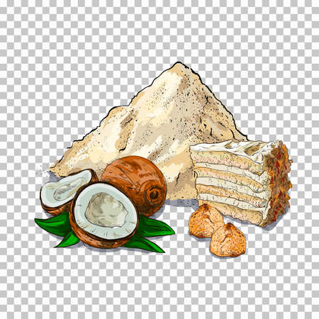 Flour and baking. piece of cake, cookie on transparent background Related Illustration In Bright Cartoon Style
