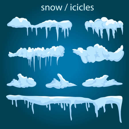 Icicles set on site menu bar and buttons. New year snowflakes decoration kit for website. Snow caps