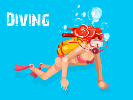 A young woman in diving suit snorkeling. Vector flat cartoon illustration on a isolated blue background Ilustración de vector