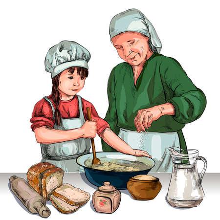 Due donne che cucinano in cucina schizzo vettoriale in bianco e nero, semplice disegno Vettoriali