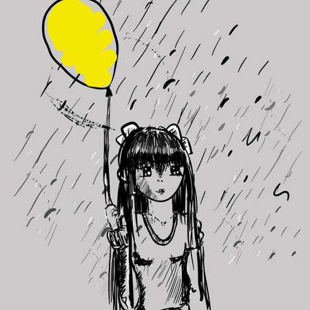 Girl with balloon in the rain. Girl and balloon, vector illustration.
