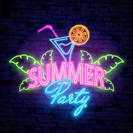 The neon poster summer party. Advertising travel on vacation to the sea. Vector illustration on black background.