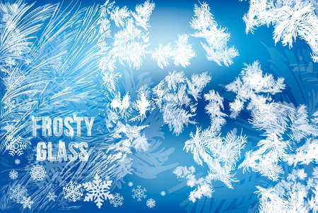 2019 New Year on ice frosted background. RGB. Global colors. One editable gradient is used for easy recolor. Vector illustration. icy Christmas background. snow and icicles Stok Fotoğraf - 111753273