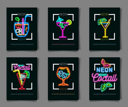 Neon colors on a black background Cocktail Party vector illustration. Various cocktail glasses and Cocktail Party text. Invitation vector poster design. Illustration