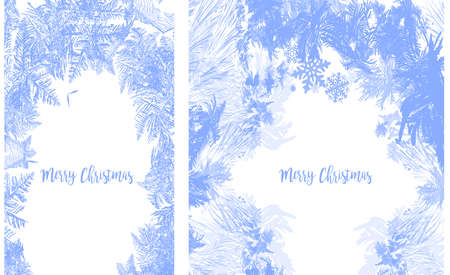 2019 New Year on ice frosted background. RGB. Global colors. One editable gradient is used for easy recolor. Vector illustration. icy Christmas background. snow and icicles