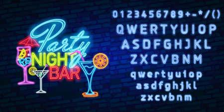 Cocktailneonteken, helder uithangbord, lichte banner. Cocktail logo, embleem. Bier neonteken, helder uithangbord, lichte banner. Bier logo embleem