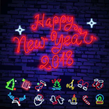 Set christmas neon sign. Neon sign, bright signboard, light banner. Vector icons. Merry Christmas and Happy New Year 2018 collection of neon signs. Illustration