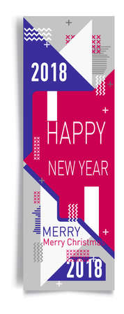 Merry christmas New Year design, eye catching banner template. Bright colorful vector illustrations for greeting card, posters, print, mobile phoned designs, ads, promotional material Yellow Pink Blue Ilustração