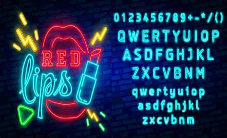 Muestra de neón de labios rojos, letrero de neón de moda retro. letrero luminoso, banner de luz. Iconos vectoriales