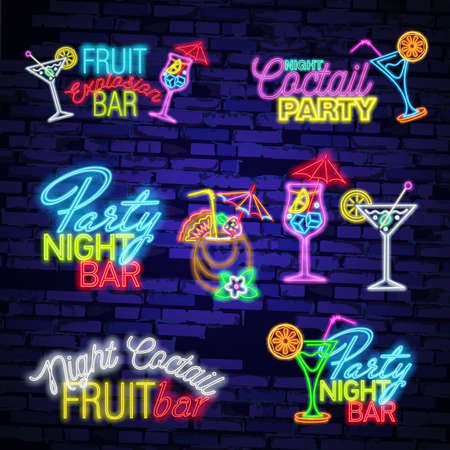 Cocktail neon sign, bright signboard, light banner. Cocktail logo, emblem. Beer neon sign, bright signboard, light banner. Beer logo emblem Illustration
