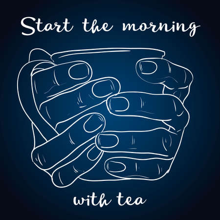 Tea time poster concept. Tea party greeting card design. Hand drawn illustration of hand holding tea Illustration