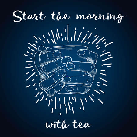 Tea time poster concept. Tea party greeting card design. Hand drawn illustration of hand holding tea Ilustrace