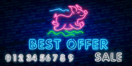 Black Friday sale neon sign, neon banner, background brochure. Glowing neon sign, bright glowing advertising, sales discounts Black Friday. Cyber monday Illustration