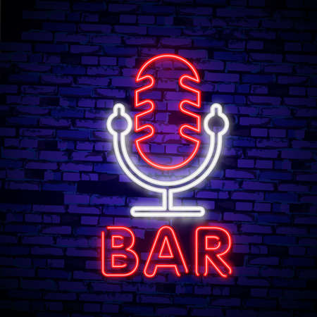 Bar of neon signs. Collection is a light logo, a symbol, a light banner. Advertising bright night karaoke bar, party, disco bar, night club. Live music. Design template. Vector illustration  イラスト・ベクター素材