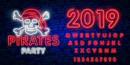 Pirates party Neon Text Vector. Pitate neon icon, design template, modern trend design, night neon signboardVintage pirate emblem glowing neon Illustration