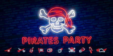 Pirates party Neon Text Vector. Pitate neon icon, design template, modern trend design, night neon signboardVintage pirate emblem glowing neon 向量圖像