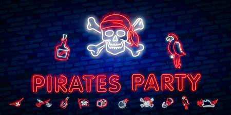 Vintage pirate emblem glowing neon Illustration