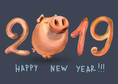 Carte postale créative pour le nouvel an 2019 avec un cochon mignon. Concept, modèle modifiable vertical de vecteur. Symbole de l'année dans le calendrier chinois. Dessin animé. Isolé. Illustration vectorielle. Vecteurs
