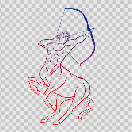 A beautiful and elegant Sagittarius zodiac sign silhouette - vector and illustration for t-shirt, pillow and cup print Illustration