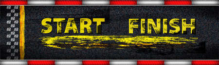 Finish line racing background top view. Art design. Start or finish on kart race. Grunge textured on the asphalt road. Abstract concept graphic element.