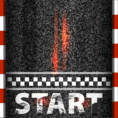Ziellinie, die Hintergrundansicht von oben läuft. Kunstdesign. Starten oder beenden Sie das Kart-Rennen. Grunge strukturiert auf der Asphaltstraße. Grafikelement des abstrakten Konzepts.
