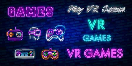 Colección de logotipos de videojuegos letrero de neón Plantilla de diseño vectorial. Juegos conceptuales de VR, logotipo de la noche de juegos retro en estilo neón, gamepad en mano, diseño de tendencia moderna, banner de luz.