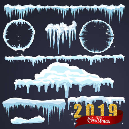 Isolated snow caps set on menu bar and buttons. New year decoration kit for website. Vecteurs