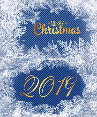2019New Year on ice frosted background. Eps8. RGB. Global colors. One editable gradient is used for easy recolor