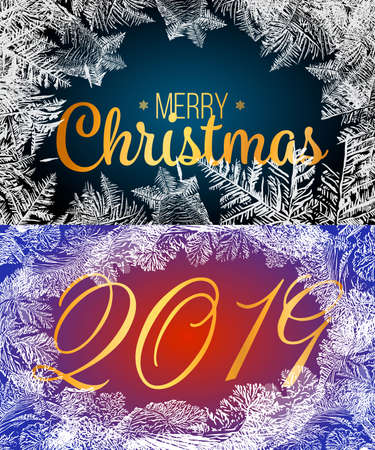 2019New Year on ice frosted background. Eps8. RGB. Global colors. One editable gradient is used for easy recolor Illusztráció