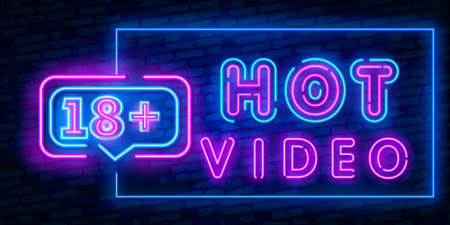 Hot Video, night sign in neon style. Neon sign, a symbol for sex video promotion. Adult Store. Bright banner, nightly advertising. Vector Illustration  イラスト・ベクター素材