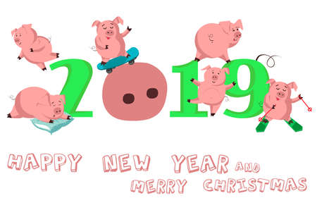 Happy New Year. Set of cute funny pig. Chinese symbol of the 2019 year. Excellent festive gift card for your design.