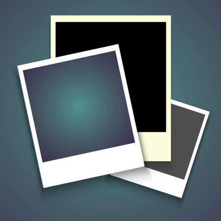 Realistic photo frame with shadow on blue isolated background, Empty photography snapshot template with adhesive tape.
