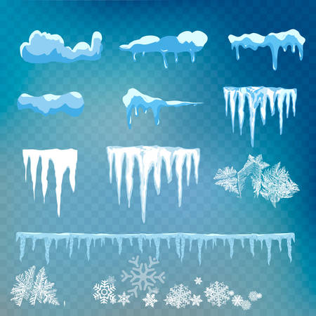Vector set of snow caps, icicles, snowball and snowdrift isolated on transparent background. Winter decorations.