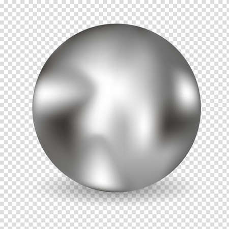 Chrome ball realistic isolated on white background. Spherical 3D orb with transparent glares and highlights for decoration. Jewelry gemstone. Vector Illustration for your design