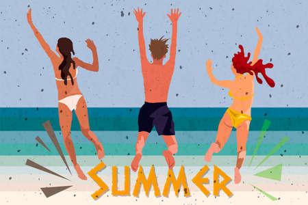 Junge Leute tanzen am Strand in Badeanzügen und Shorts, Vektorgrafiken im Cartoon-Stil isoliert auf weißem Hintergrund. Junge Männer und Frauen, Jungen und Mädchen tanzen