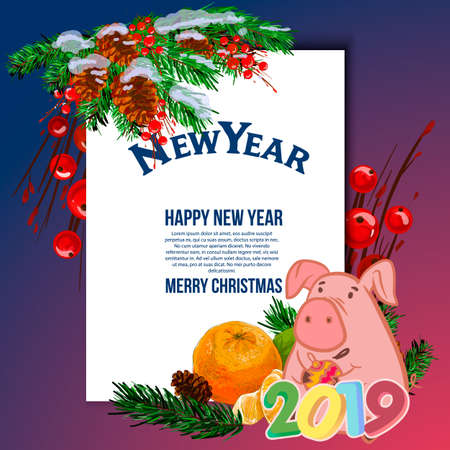 Cute pink pig with glasses on blue background. Template for your text. Cartoon character with white banner or board. Place your text on blank sheet. Flat style. Illustration