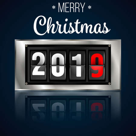 2019 coming soon. New Year information display board vector illustration. 2019 New Year counter Christmas congratulation Black background Ilustrace