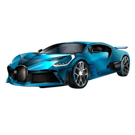 Super car design concept. Unique modern realistic art. Generic luxury automobile. Car presentation side view. 3D illustration