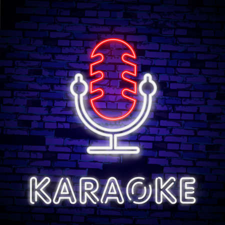 Karaoke set of neon signs. Collection is a light logo, a symbol, a light banner. Advertising bright night karaoke bar, party, disco bar, night club. Live music.